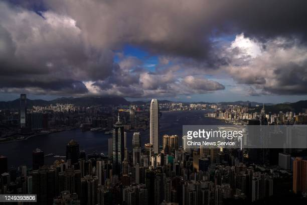 Dark clouds are seen over the skyline of Victoria Harbour as Typhoon Nuri approaches on June 13, 2020 in Hong Kong, China.