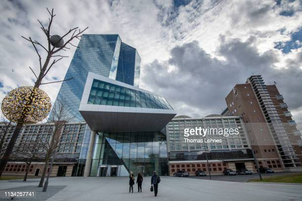 Dark clouds arount the headquarters of the European Central Bank pictured on March 7 2019 in Frankfurt Germany Economic growth in the Eurozone group...