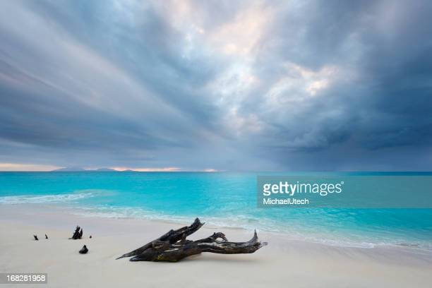 Dark Clouds At Caribbean Beach
