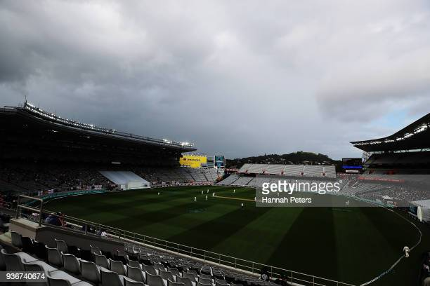 Dark clouds cover the ground ahead of rain during day two of the First Test match between New Zealand and England at Eden Park on March 23 2018 in...