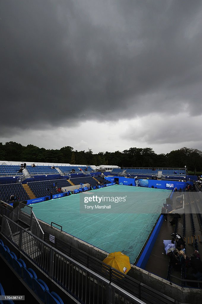 Dark clouds gather over Ann Jones Centre Court as rain falls during day five of the AEGON Classic tennis tournament at Edgbaston Priory Club on June 13, 2013 in Birmingham, England.