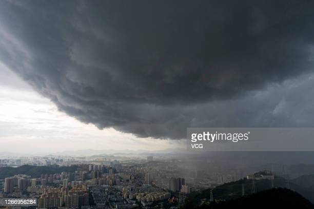 Dark clouds hang over the skyline as typhoon Higos approaches on August 18, 2020 in Shenzhen, Guangdong Province of China.