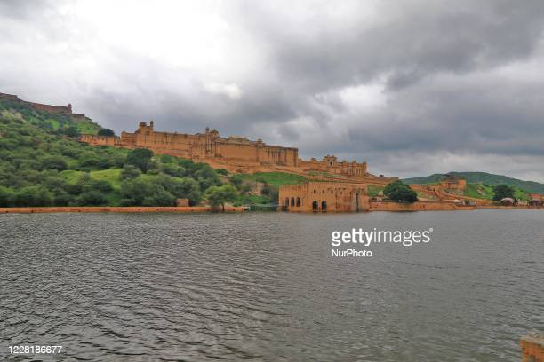 Dark clouds hover over historic Amer Fort during the monsoon season in Jaipur, Rajasthan, India, on Monday, Aug 24,2020.