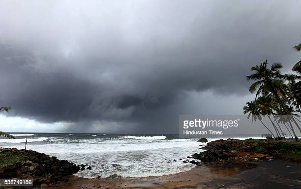 Dark clouds hover over sea coast as the first winds of southwest monsoon hits Kerala on June 7 2016 in Thiruvananthapuram India The news arrival of...