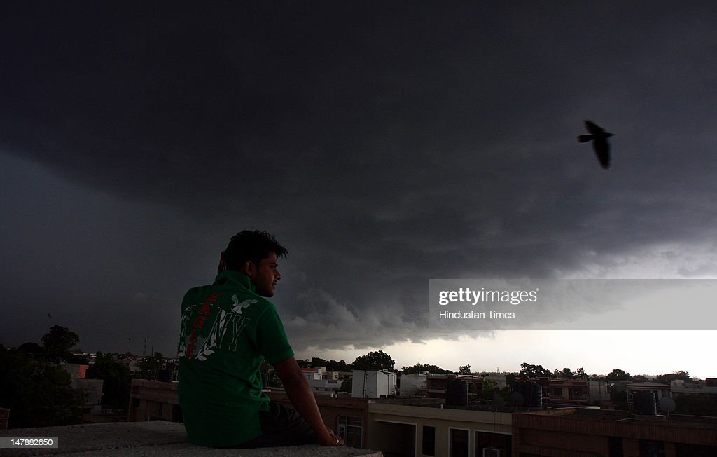 Dark clouds hovering over the skyline on July 5 2012 in Chandigarh India A short spell of premonsoon rain in Chandigarh brought relief to the...