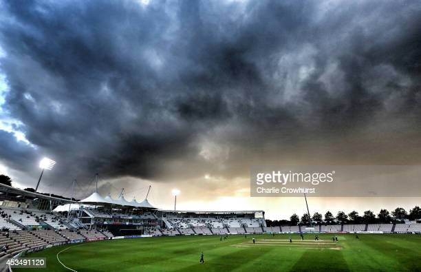 Dark clouds loom as the game is called off after another rain shower during Royal London One-Day Cup match between Hampshire and Worcestershire...