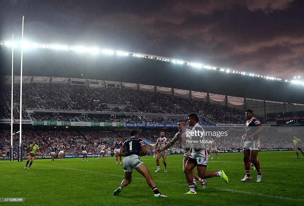 Dark clouds loom over head during the round eight NRL match between the Sydney Roosters and the St George Illawarra Dragons at Allianz Stadium on April 25, 2015 in Sydney, Australia.