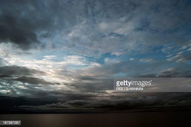 Dark clouds on Lake Kivu on the border between the Democratic Republic of Congo and Rwanda