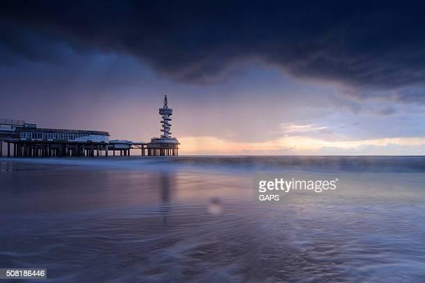 dark clouds over the Pier at Scheveningen