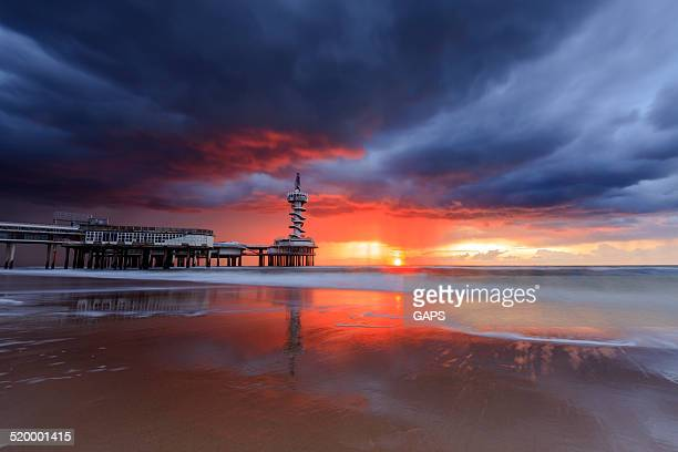 dark clouds over the Pier at Scheveningen