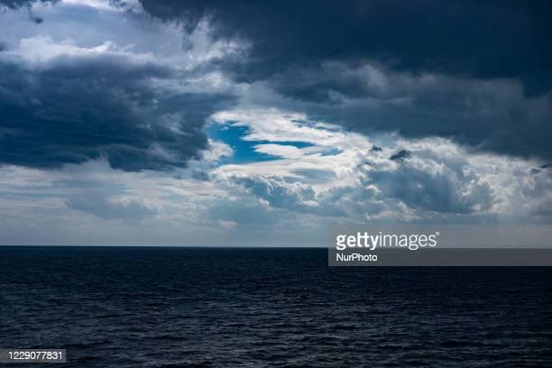 Dark clouds over the sea near Ancona, Italy, on September 25, 2020.