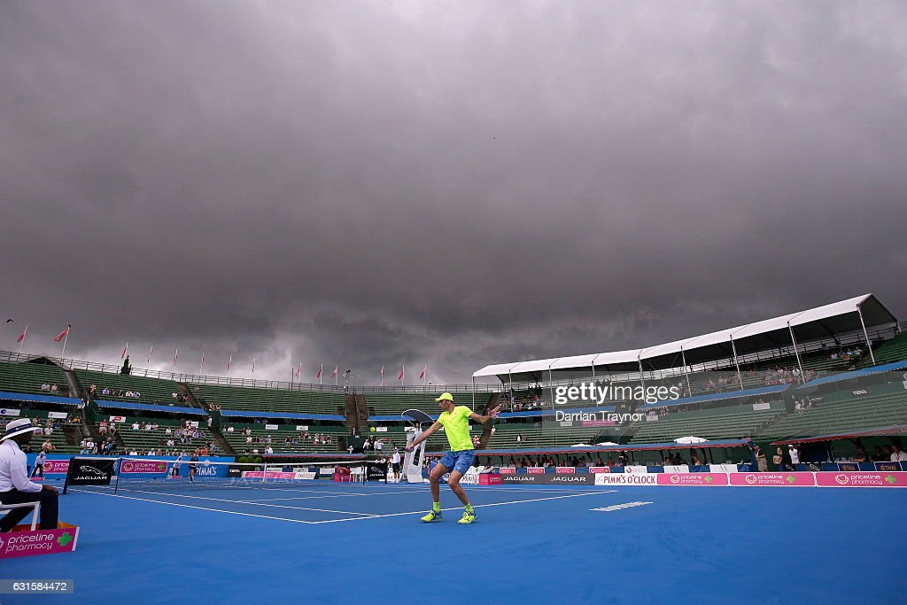 Dark clouds roll over the mens final between David Goffin of Belgium and Ivo Karlovic of Croatia during day four of the 2017 Priceline Pharmacy Classic at Kooyong on January 13, 2017 in Melbourne, Australia.