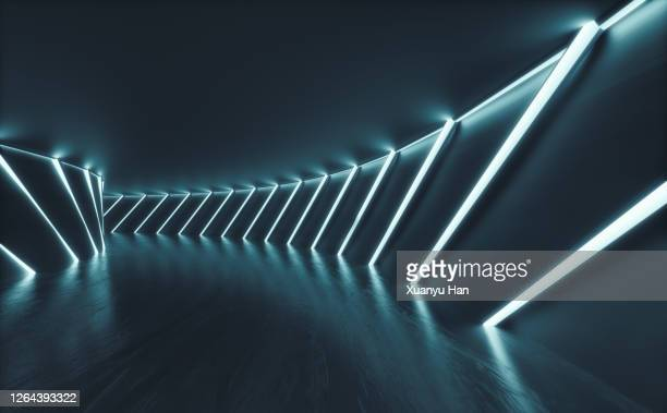 dark empty futuristic corridor - built structure stock pictures, royalty-free photos & images