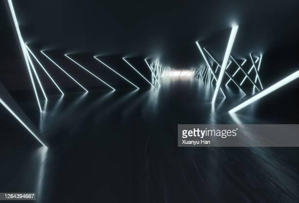 dark empty futuristic corridor - grey colour stock pictures, royalty-free photos & images