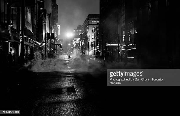 dark, foggy toronto - film noir style stock pictures, royalty-free photos & images
