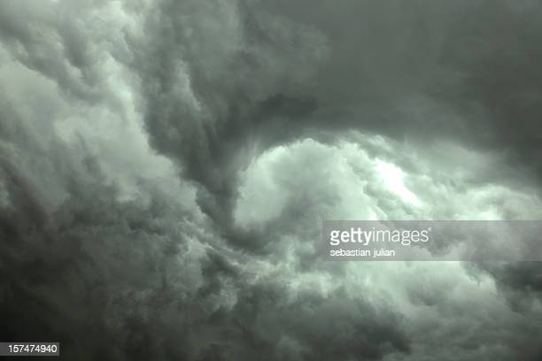 Dark gray swirling storm clouds