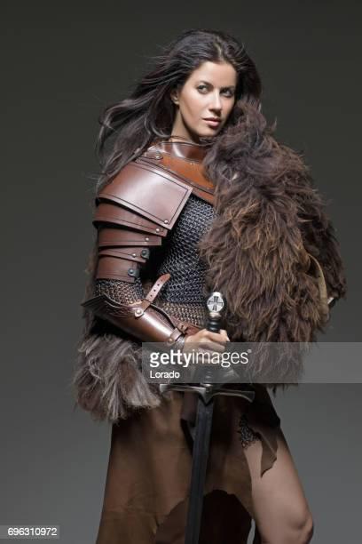 Dark Haired Viking Woman in studio setting