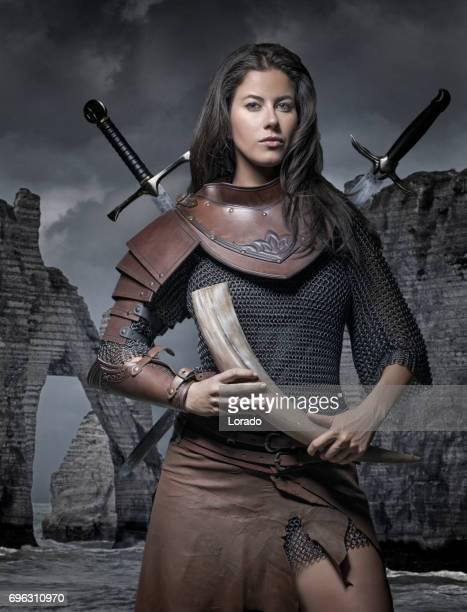 Dark Haired Viking Woman in the studio setting