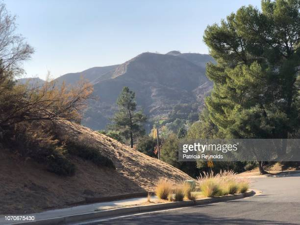 Dark Hills of Agoura Hills after the 2018 fires in Agoura Hills, CA, USA.