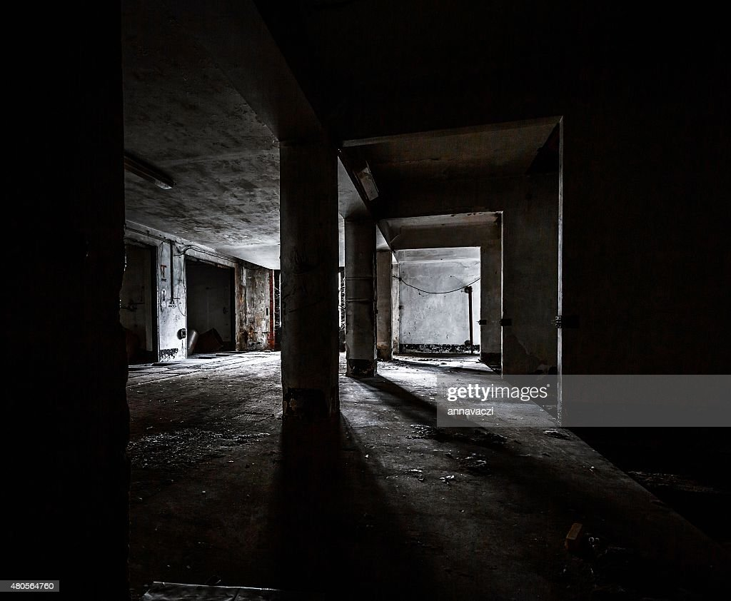 Dark industrial interior : Stock Photo