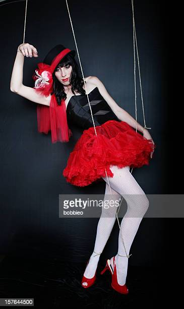dark marionette - bound in high heels stock photos and pictures
