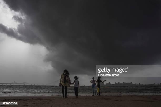 Dark monsoon clouds hover over Bandra worli sealing seen from Dadar chowpatty on June 10 2018 in Mumbai India