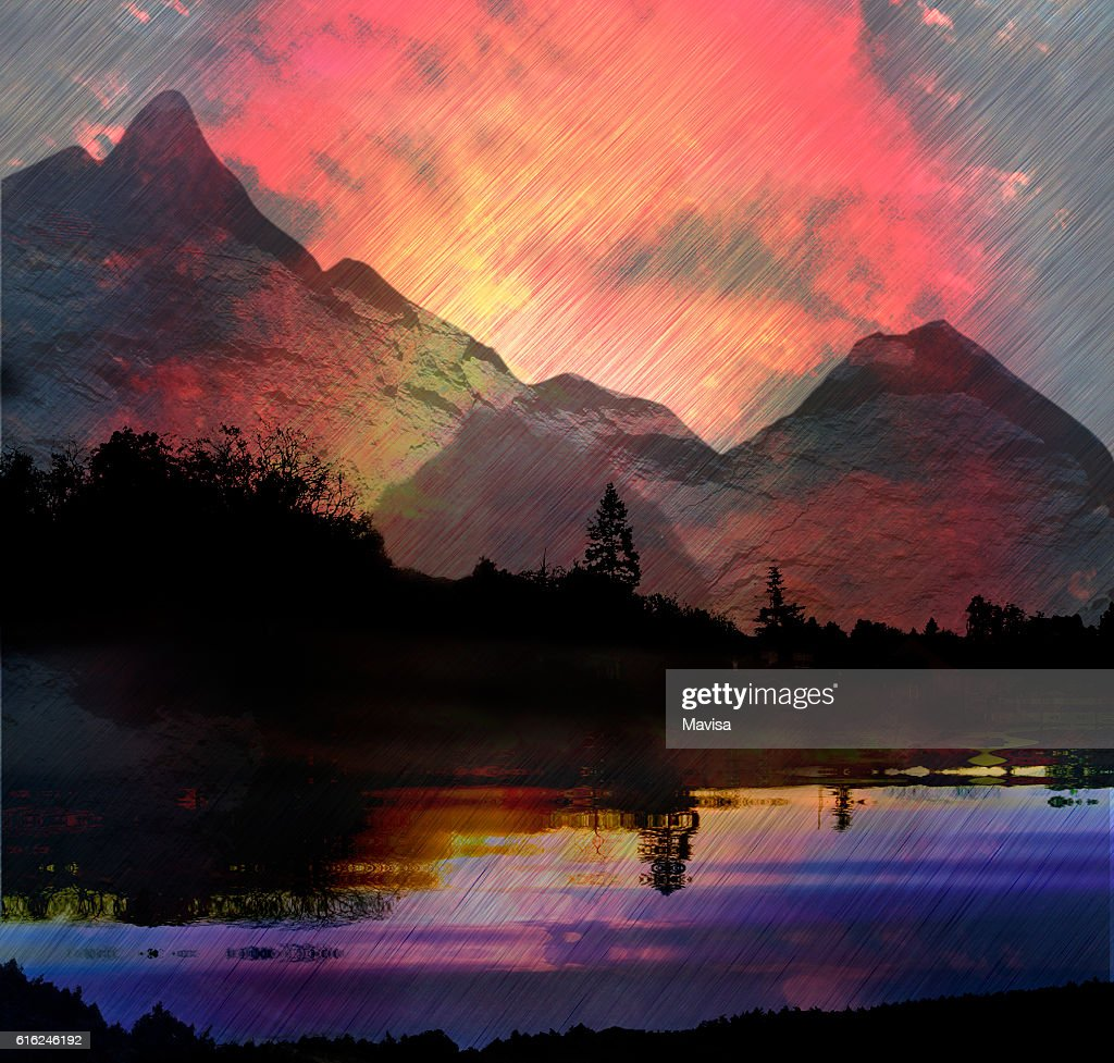 Dark mountain landscape with lake, trees and torrents of rain : Stock Photo