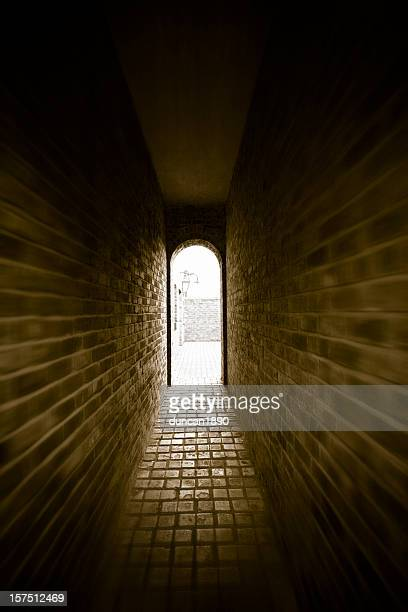 dark passage - claustrophobia stock photos and pictures