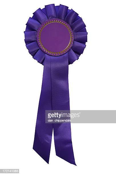 Dark purple rosette on white background
