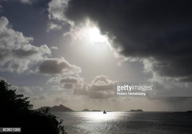 CRAIGSTON CARRIACOU GRENADA FEBRUARY 5 Dark rain clouds move across the sky February 5 2018 in Craigston Carriacou Grenada Carriacou is one of three...