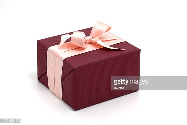 dark red gift box with pink bow - maroon stock pictures, royalty-free photos & images