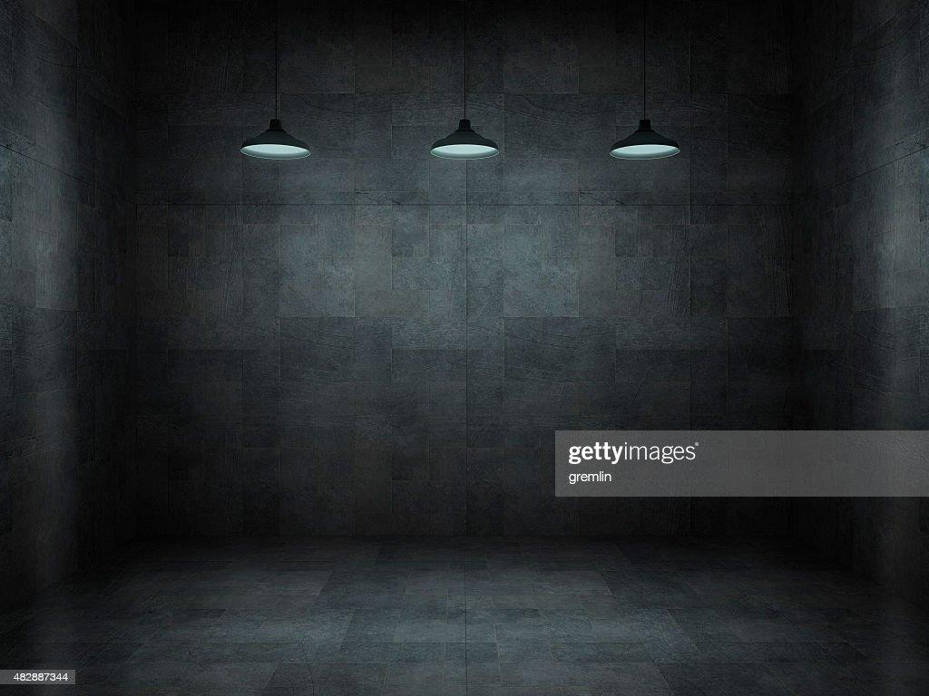 Dark, scar, empty office room : Stock Photo