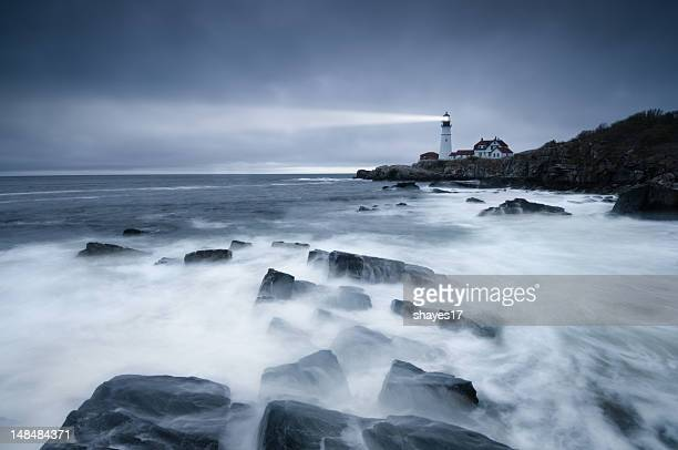 dark seas lighthouse - storm stock pictures, royalty-free photos & images