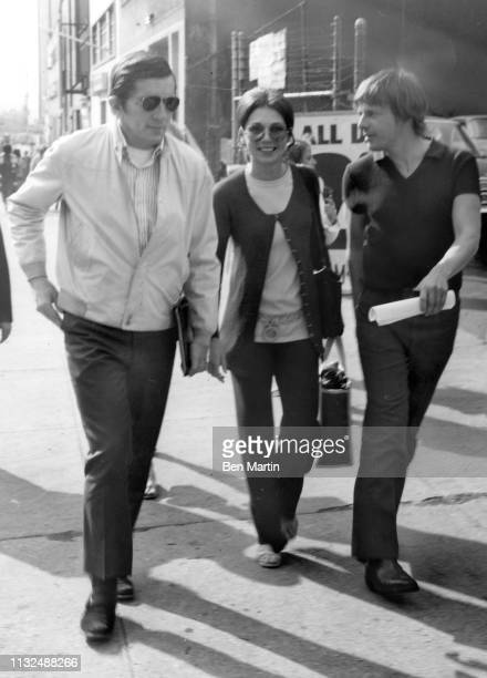 Dark Shadows actors Jonathan Frid Kathryn Leigh Scott and John Karlen outside ABC Studio 16 1966