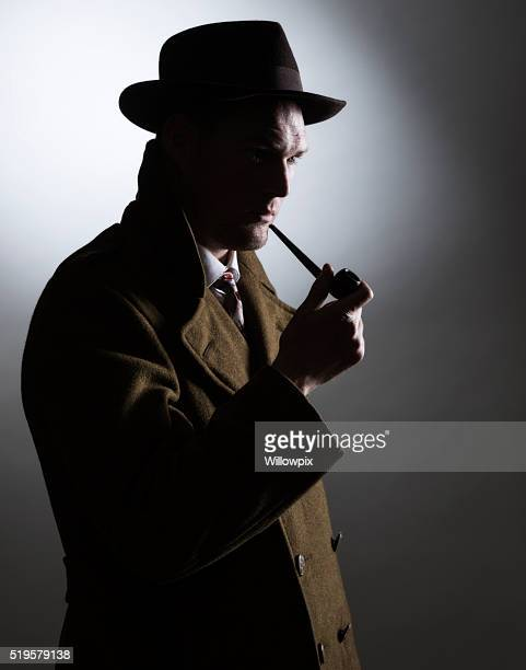 Dark Silhouette 1940s Gumshoe Private Eye Detective Holding Smoking Pipe