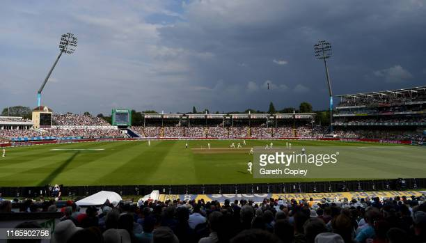 Dark skies above play during day three of the 1st Specsavers Ashes Test between England and Australia at Edgbaston on August 03 2019 in Birmingham...