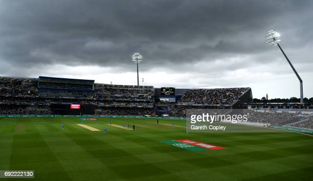 Dark skies approach during the ICC Champions Trophy match between India and Pakistan at Edgbaston on June 4 2017 in Birmingham England