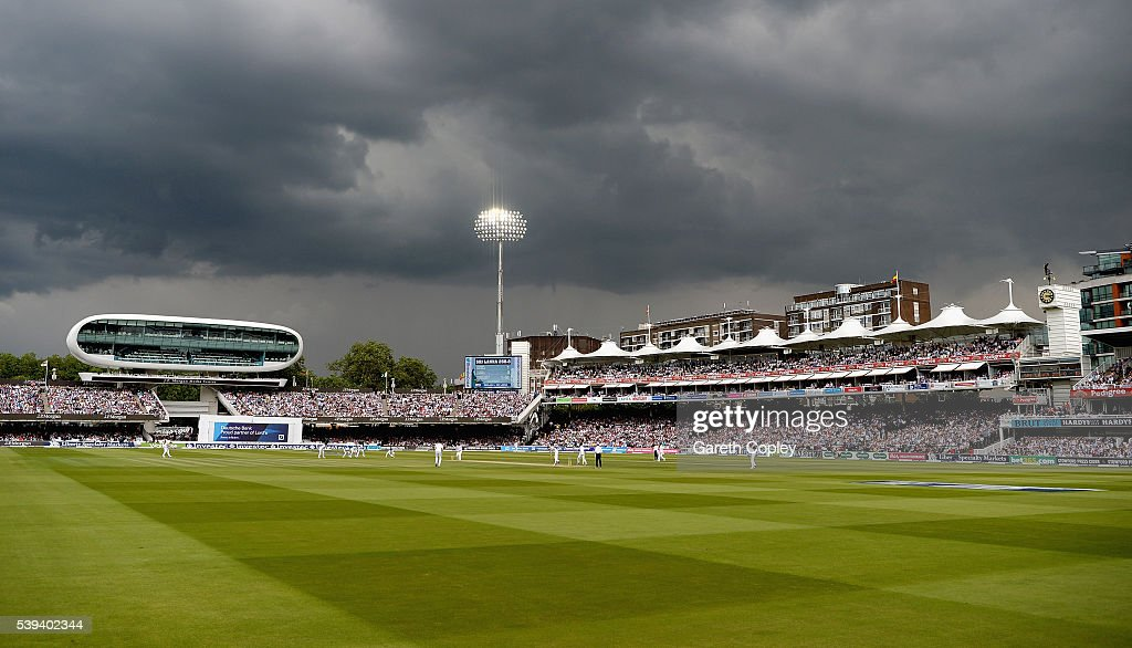 Dark skies over play during day three of the 3rd Investec Test match between England and Sri Lanka at Lord's Cricket Ground on June 11, 2016 in London, United Kingdom.