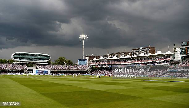 Dark skies over play during day three of the 3rd Investec Test match between England and Sri Lanka at Lord's Cricket Ground on June 11 2016 in London...