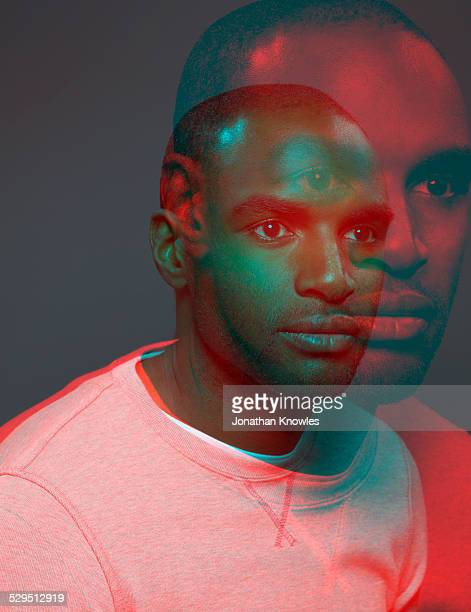 Dark skinned male,multiple exposure, side