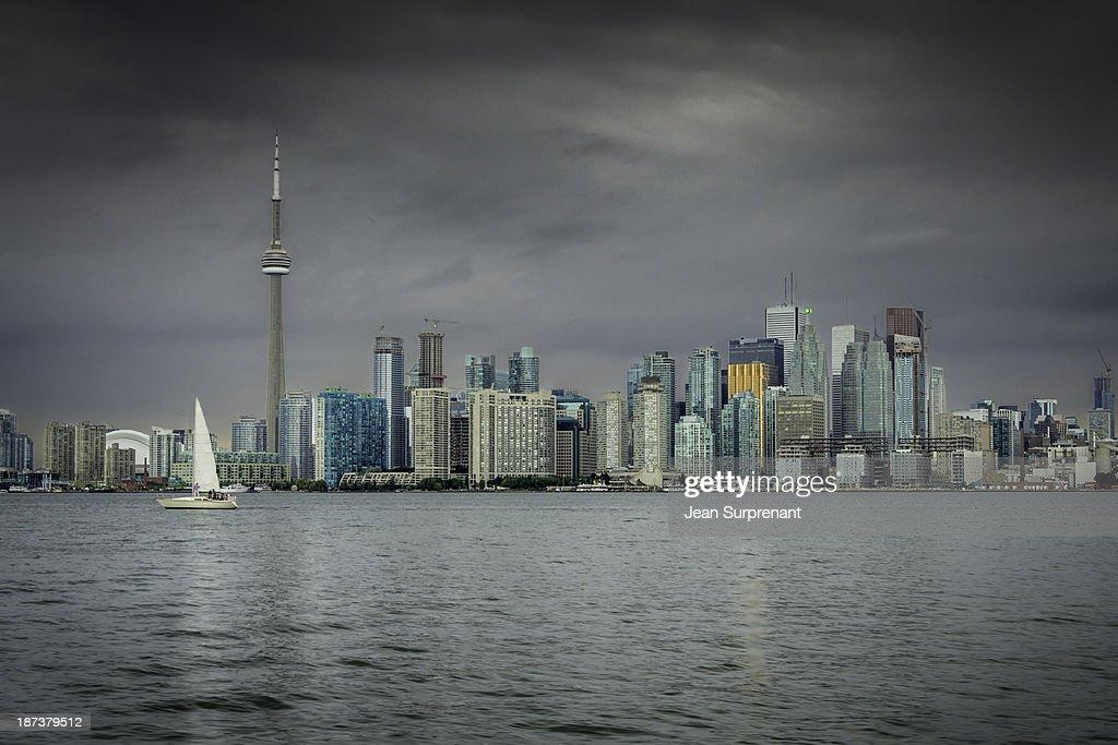 Dark sky over Toronto : Stock Photo