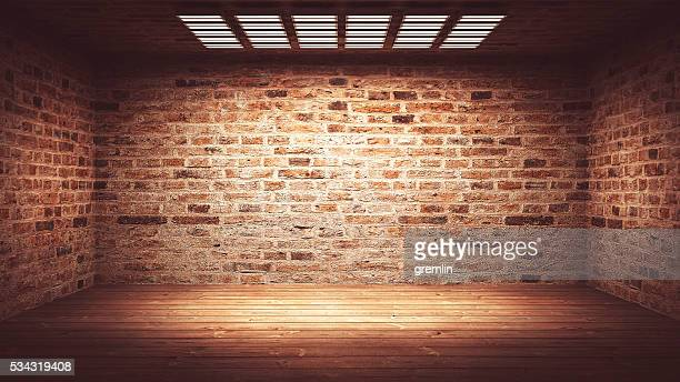 dark, spooky, empty office or basement room - brick stock pictures, royalty-free photos & images