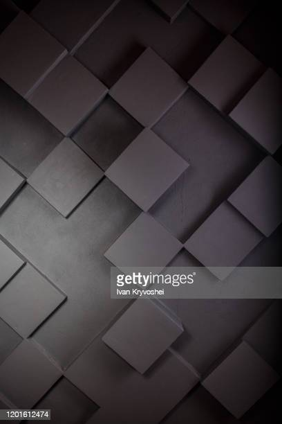 dark squares abstract background. realistic wall of cubes. abstract cubes. grey background. geometric polygons, as tile wall - black square stock pictures, royalty-free photos & images