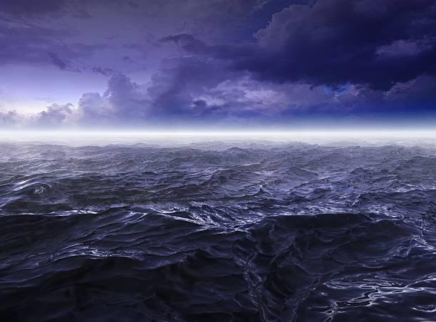 Dark stormy Sea Waters at Night