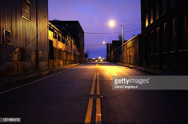 dark urban industrial road - worcester massachusetts stock pictures, royalty-free photos & images
