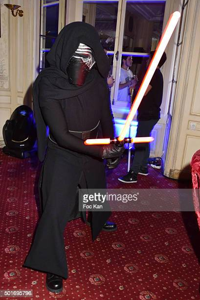 A ''Dark Vador' performs during the 'Star Wars Episode VII The Force Awakens' Screening Party Hosted by ST Dupont at the Automobile Club France on 16...