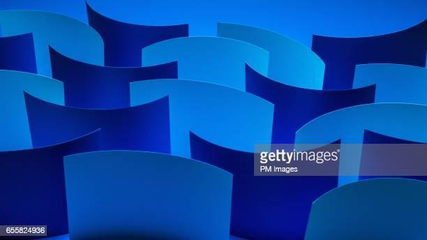 Dark wave of blue paper