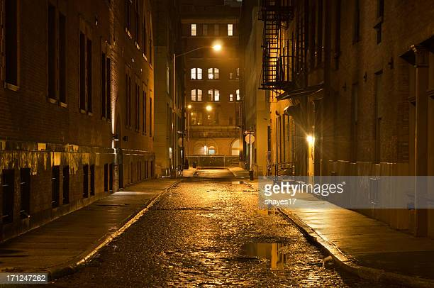 dark wet street - street stock pictures, royalty-free photos & images