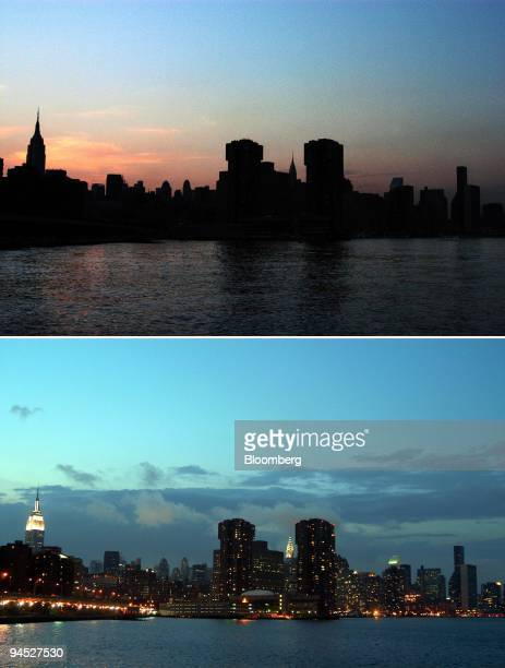 A darkened New York City skyline at dusk during the August 14 2003 blackout top is contrasted with a normal view made at dusk on Sunday August 17...