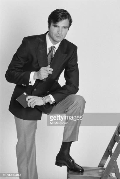 Dark-haired male model in a jacket and tie, 17th January 1985.